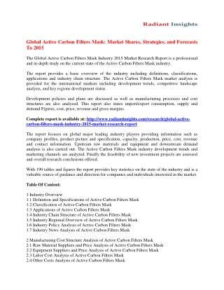 Active Carbon Filters Mask Market Opportunities, Trends and Challenges 2015