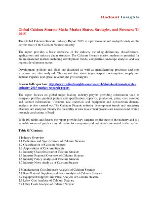 Calcium Stearate Market Overview and Developments by 2015