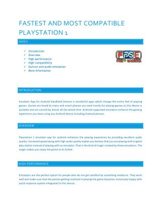 Fastest and Most Compatible Playstation 1 Emulator App