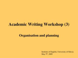 Academic Writing Workshop 3
