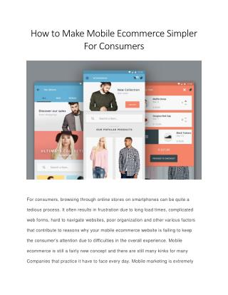 How to Make Mobile Ecommerce Simpler for Consumers