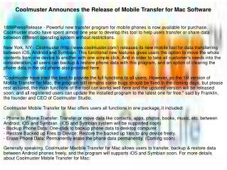Coolmuster Announces the Release of Mobile Transfer for Mac Software