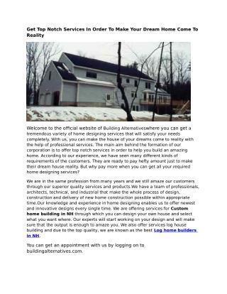 Log Home Builders NH