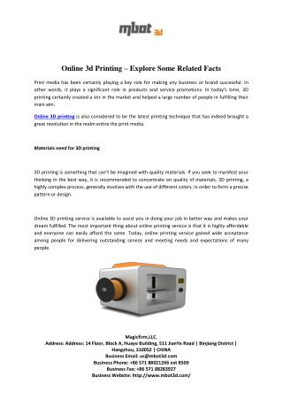 Online 3d Printing – Explore Some Related Facts