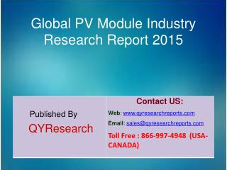 Global PV Module Industry 2015 Market Trends, Analysis, Outlook, Development, Shares, Forecasts and Study