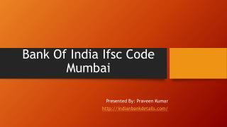 IFSC code bank of India in mumbai