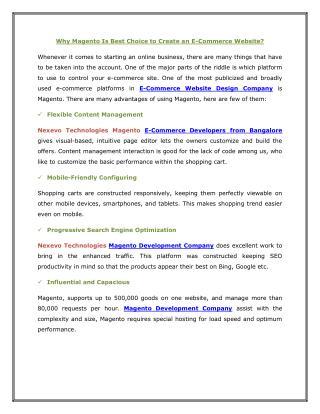 Magento Development Company Bangalore
