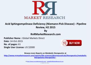 Acid Sphingomyelinase Deficiency Niemann-Pick Disease Pipeline Review H2 2015