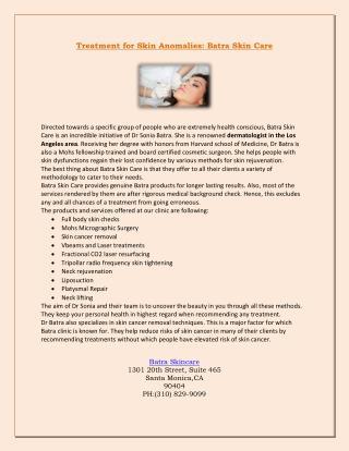 Treatment for Skin Anomalies: Batra Skin Care