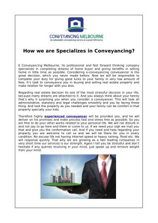 How we are Specializes in Conveyancing?