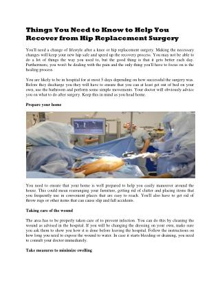Things You Need to Know to Help You Recover from Hip Replacement Surgery