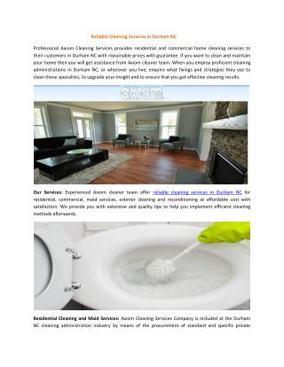 Reliable Cleaning Services in Durham NC