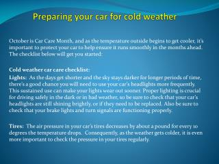 Preparing your car for cold weather