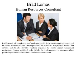 Brad Lomas Human Resources Consultant