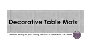 Decorative Table Mats Available Online at Lowest Price