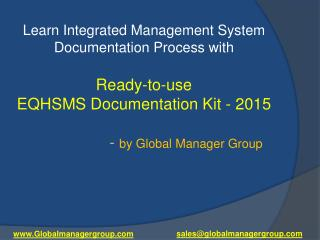 Revised EQHSMS Documentation Kit by Global Manager Group