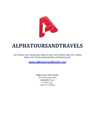 Ooty Travels | Travels in Ooty | Tour Packages Ooty - alphatoursandtravels