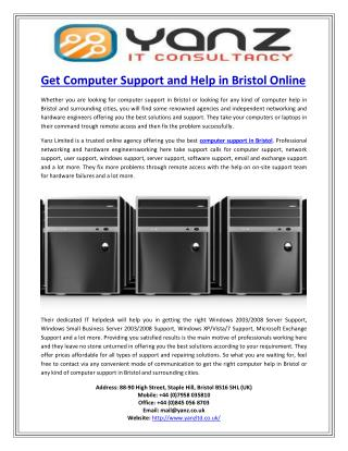 Get Computer Support and Help in Bristol Online