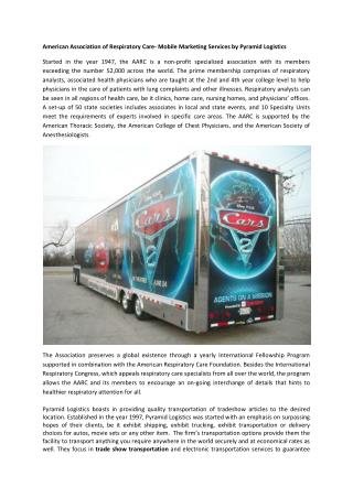 American Association of Respiratory Care- Mobile Marketing Services by Pyramid Logistics