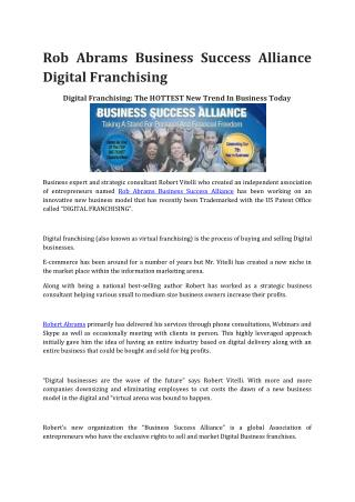 Rob Abrams Business Success Alliance Digital Franchising