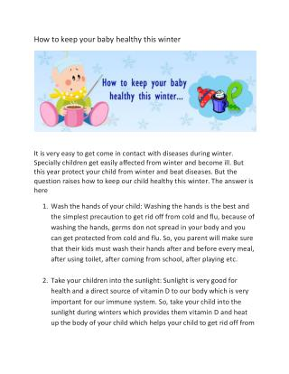 how to keep baby healthy this winter