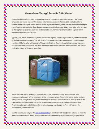 Convenience through portable toilet rental