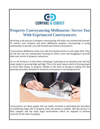 Property Conveyancing Melbourne: Serves You With Exprianced Conveyancers