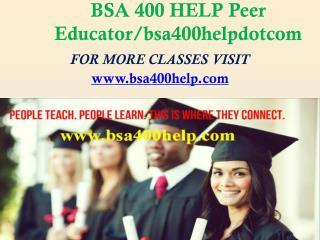 BSA 400 HELP Peer Educator/bsa400helpdotcom