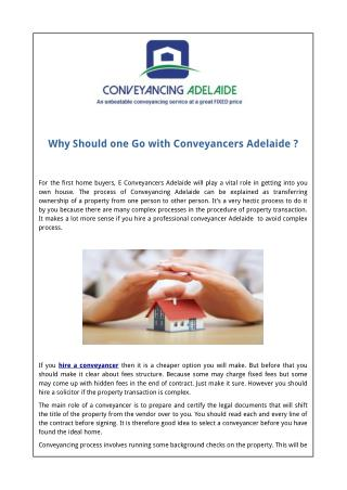 Why Should one Go with Conveyancers Adelaide ?