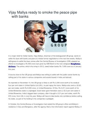 Vijay Mallya ready to smoke the peace pipe with banks