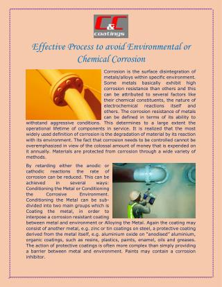 Effective Process to avoid Environmental or Chemical Corrosion