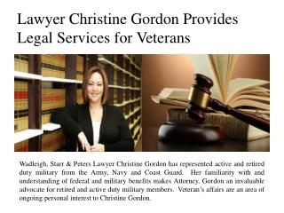 Lawyer Christine Gordon Provides Legal Services for Veterans