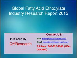Global Fatty Acid Ethoxylate Market 2015 Industry Growth, Trends, Development, Research and  Analysis