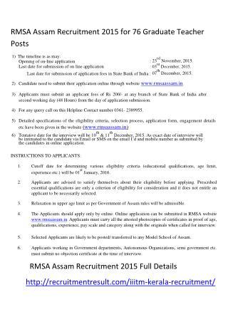RMSA Assam Recruitment 2015 for 76 Graduate Teacher Posts