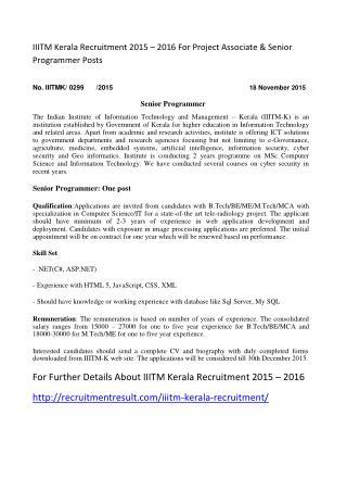 IIITM Kerala Recruitment 2015 � 2016 For Project Associate & Senior Programmer Posts