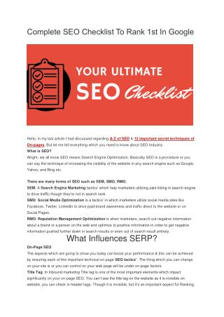 Complete SEO Checklist To Rank 1st In Google 2015