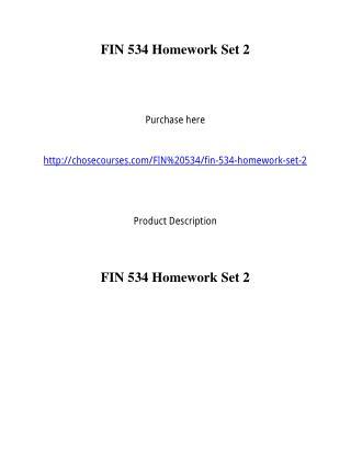 FIN 534 Homework Set 2