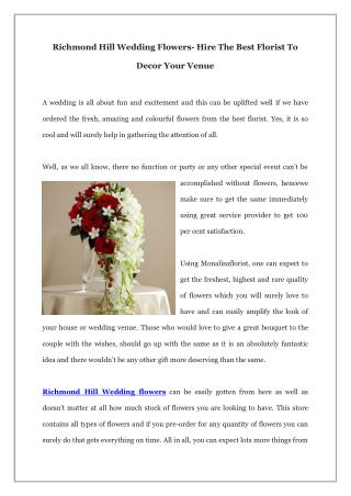 Richmond Hill Wedding Flowers- Hire The Best Florist To Decor Your Venue