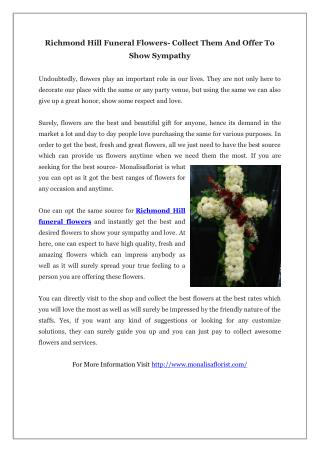 Richmond Hill Funeral Flowers- Collect Them And Offer To Show Sympathy