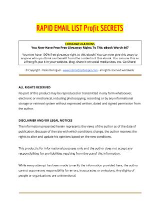 How To Build An Email List Fast Rapid Email List Profit Secrets