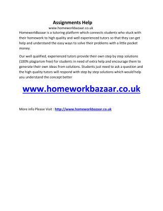 Homework Bazaar Assignments Help