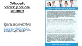 Orthopedic fellowship personal statement
