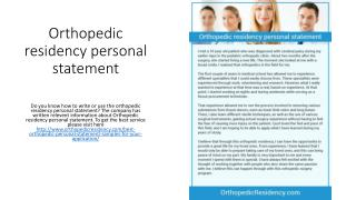 Orthopedic residency personal statement