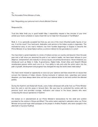 Agnishwar Jayaprakash's Letter  to PM Narendra Modi Ji