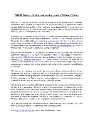 SQUAD Infotech Pvt Ltd. - Article