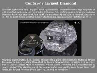 Century's Largest Diamond