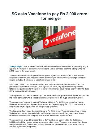 SC asks Vodafone to pay Rs 2,000 crore for merger
