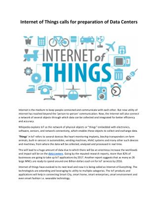 Internet of Things calls for preparation of Data Centers