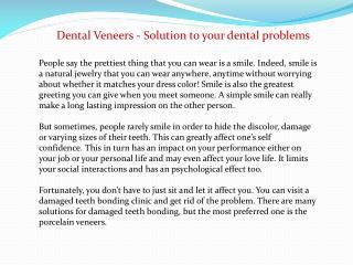 Dental Veneers - Solution to your dental problems