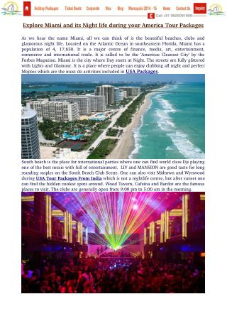 Explore Miami and its Night life during your America Tour Packages